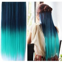 Uniwigs® Ombre Dip-dye Color Clip in Hair Extension 60cm Dark Green to Light Green Straight for Fashion Women Tbe0021