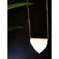 Minimal  Asymetric White Polymer Clay Necklace