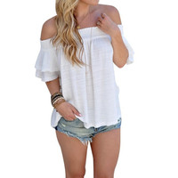 Women Off Shoulder Shirts Hollow Out Short Sleeve Sexy Blouses Loose Shirt Tops Women Clothing Camisas Femenina GS