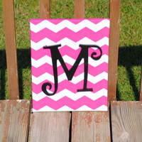 """Personalized Dark Hot Pink Chevron With Black Curly Initial Canvas Wall Art 11""""x14"""" Customized Boys And Girls Room Decor"""