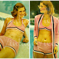 French Striped Bikini and Cardigan Set 1970s Vintage KNITTING Pattern - bathing suit vacation sexy maillot INSTANT Download PDF