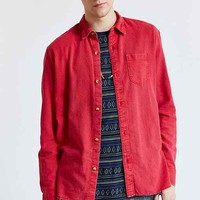 Koto Acid-Washed Printed Button-Down Shirt- Red