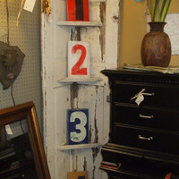 Wooden numbers or letters hand painted to look vintage