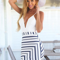 White Spaghetti Strap Deep V-Neck Lace Accent Striped Bodycon Mini Dress