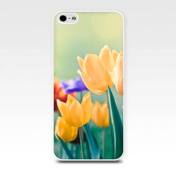 floral iphone case iphone 5s case iphone 4s tulips iphone case flower spring iphone case fine art pastel flowers iphone girly case mint gold
