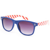 Blue Crown Anchor Stripe Sunglasses Red/White/Blue One Size For Men 25643094801