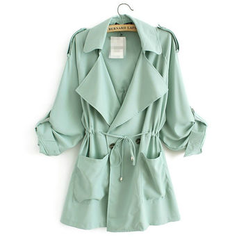 Drawstring Pockets Notch Lapel Trench Coat