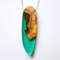 """Large and long pendant / necklace from Australian Olive wood and emerald green resin on a 70cm /28"""" long rhodium plated chain"""