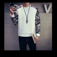 Mens Graphic Sleeves Pullover Sweater