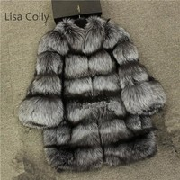 Lisa Colly Women Winter Coats New Fashion Faux Fur Long Coat Jacket Fur Coat Elegant Thick Warm Outerwear Fox Fur Coat Jacket