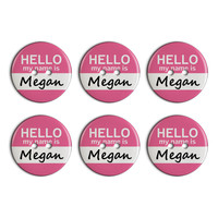 Megan Hello My Name Is Plastic Resin Button Set of 6