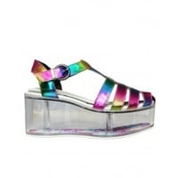 YRU Charii Disco Rainbow Platform Shoes