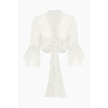 Orla Cotton Front Tie Blouse - Off White