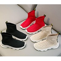 Fashion Breathable Balenciaga Children Socks Soft Knitted Sneakers