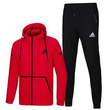 ADIDAS autumn and winter new sports suit men plus velvet cardigan hooded sportswear two-piece Red