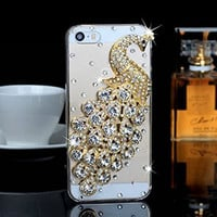 """iPhone 6 Case, MC Fashion Peacock Crystal Rhinestone 3D Diamante Hard Shell Phone Case Compatible for Apple iPhone 6 4.7"""" (2014) ONLY (Silver)"""