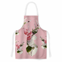 """Suzanne Carter """"Floral Deer"""" Pink White Artistic Apron"""