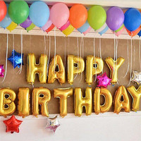 """13Pcs """"HAPPY BIRTHDAY"""" Letters Foil Balloons For Birthday Party Decoration HUUS"""