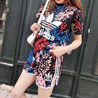 """""""Adidas"""" Women Casual Letter Multicolor Floral Print Short Sleeve Shorts Set Two-Piece Sportswear"""