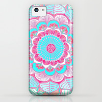 Tropical Bloom - floral doodle in pink, mint, peach, aqua, white iPhone & iPod Case by micklyn
