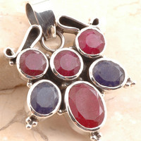 Fabulous Pendant in 925 Sterling Silver Dyed Ruby/ Dyed BLUE SAPPHIRE