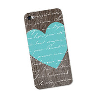 Woodgrain Blue Heart Iphone Skin 4S - Gadget Decal Sticker Cover - iPhone 4 Skin - Brown Wood and Turquoise Blue