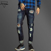 HCXX Men Ripped Holes Casual Jeans