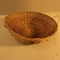 Handcrafted Wicker Basket 11in Diameter x 3 1/2in H Natural Tone Round Wicker -- Used