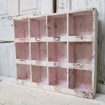 Cubbie display wall hanging shelf organizer shabby cottage chic hand painted pink w/ white table cubby home decor anita spero design