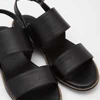Faux Leather Slingback Sandals