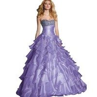 George Bride Lilac Ball Gown Sweetheart Floor-length Organza Prom Dress