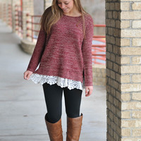 Lovely Lace Sweater - Red
