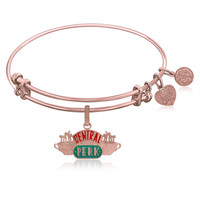 Expandable Bangle in Pink Tone Brass with Central Perk Symbol