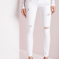 Missguided - Sinner High Waisted Ripped Skinny Jean White
