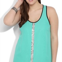Plus Size Chiffon Tank Top with Beaded Front