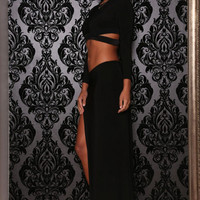 Black Long Sleeve Bodycon Cutout Cropped Top with Maxi Skirt Set