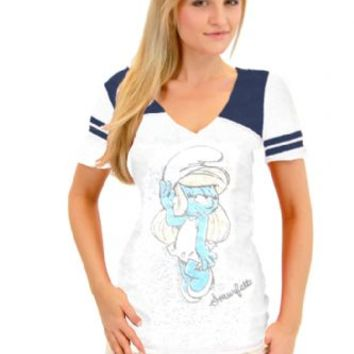 True Vintage The Smurfs Smurfette Pose Juniors Burnout White and Navy T-shirt with Striped Sleeves