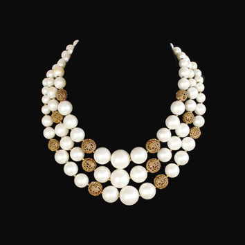 Lisner Multi Strand Faux Pearl And Filigree Brass Bead Necklace, Bridal Jewelry