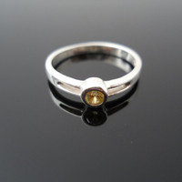 Yellow CZ Ring, Silver Ring, Pinky Ring, Size 4 Ring, Sterling Ring, Child Ring, 925 Ring, Yellow Stone Ring, 925 CZ Ring, Silver Pinky Ring