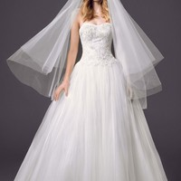 Strapless Pleated Bodice Tulle Ball Gown - David's Bridal