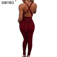 Sibybo Cross Halter Backless Sexy Rompers Womens Jumpsuit Sleeveless Pocket Sashes Skinny Bandage Jumpsuit Women Summer Overalls
