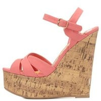 Crisscrossed Platform Wedge Sandals by Charlotte Russe