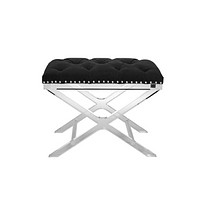 Black Button Tufted Stool | Eichholtz Bruno