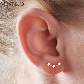 MESTILO Unique Tiny 3-Star Silver / Gold Stud Earrings - 1 Pair (2 Metal Types)