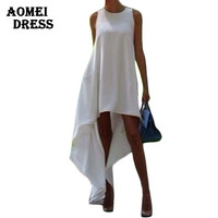 S M 3XL 5XL Women Summer Bohemian White Irregular Beach Dress Loose Flare Tunic Female Sleeveless Beachwear Boho Gowns Dresses