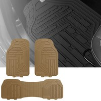 FH Travel Master Car Seat Covers for Auto, Complete Seat Covers Set with Beige Rubber Heavy Duty Floor Mats, Red Black