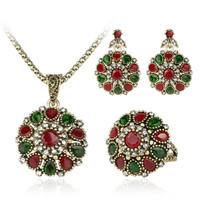 Women 2016 Crystal Flower Necklace Sets Fashion Earing Fashion Vintage Ethnic Jewelry Turkish 3Pc Nigerian Red Bead Necklace