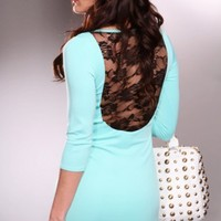 Mint Black Scoop Neck Quarter Sleeves Floral Lace Chic Dress @ Amiclubwear sexy dresses,sexy dress,prom dress,summer dress,spring dress,prom gowns,teens dresses,sexy party wear,women's cocktail dresses,ball dresses,sun dresses,trendy dresses,sweater dress