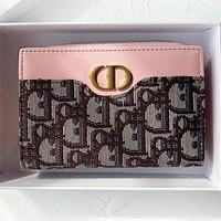 Dior New fashion more letter leather wallet purse handbag Pink