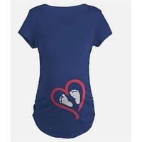 2018 New Womens Pregnancy Clothes Pregnant T Shirts Maternal Love Mother and Baby Elephant Print Maternity Tops T-shirt Clothes